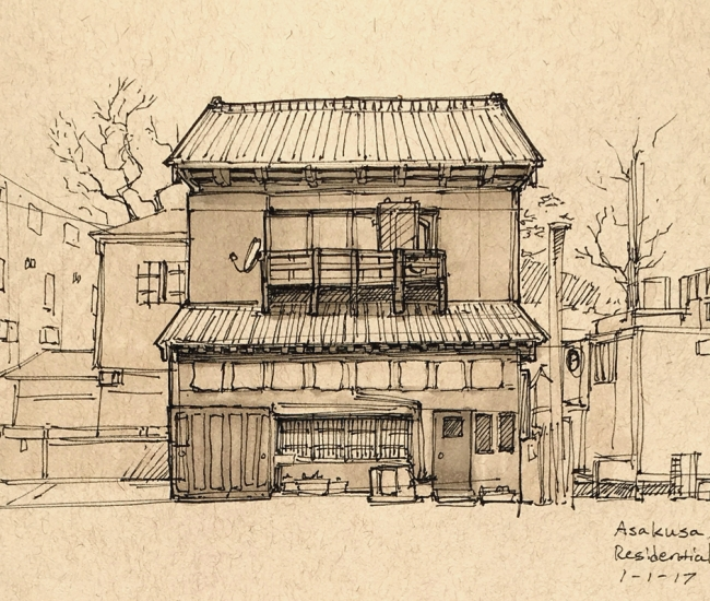 Sketch of a random house in a residential neighborhood of Asakusa.