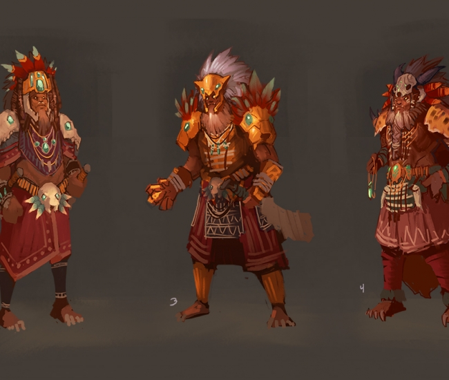 Tribal Warrior Chieftain Thumbnail Concepts