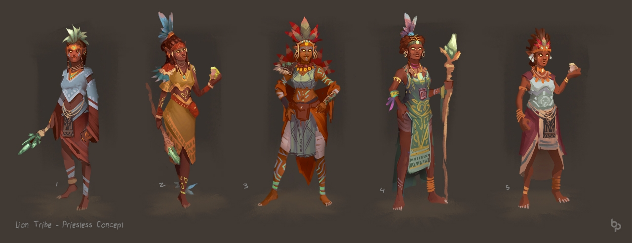 Thumbnails for the Lion Tribe Priestess.