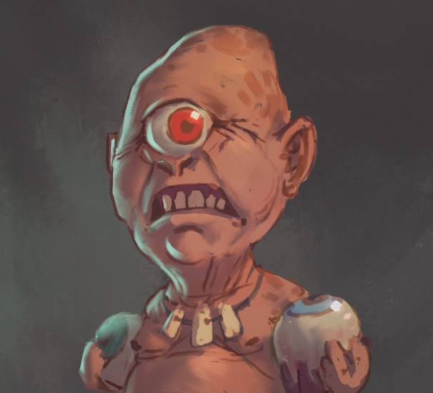 A tiny little cannibal cyclops man.