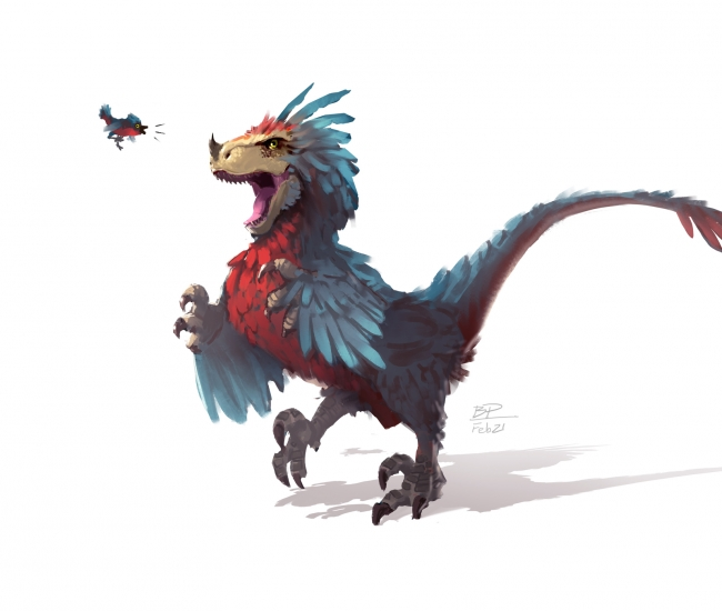 A peacocking velociraptor.